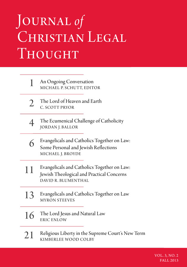 Journal of Christian Legal Thought - Fall 2013